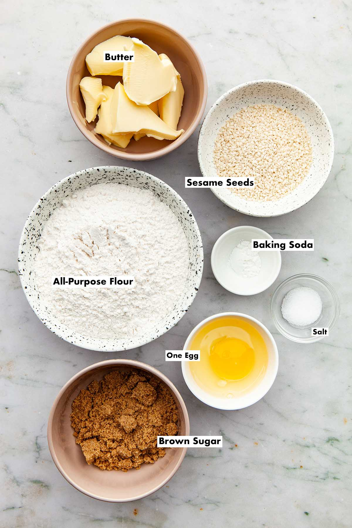 Ingredients to make brown butter sesame seed cookies.