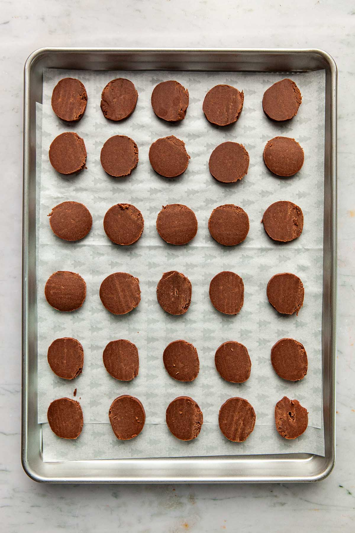 A tray of unbaked chocolate cookies.