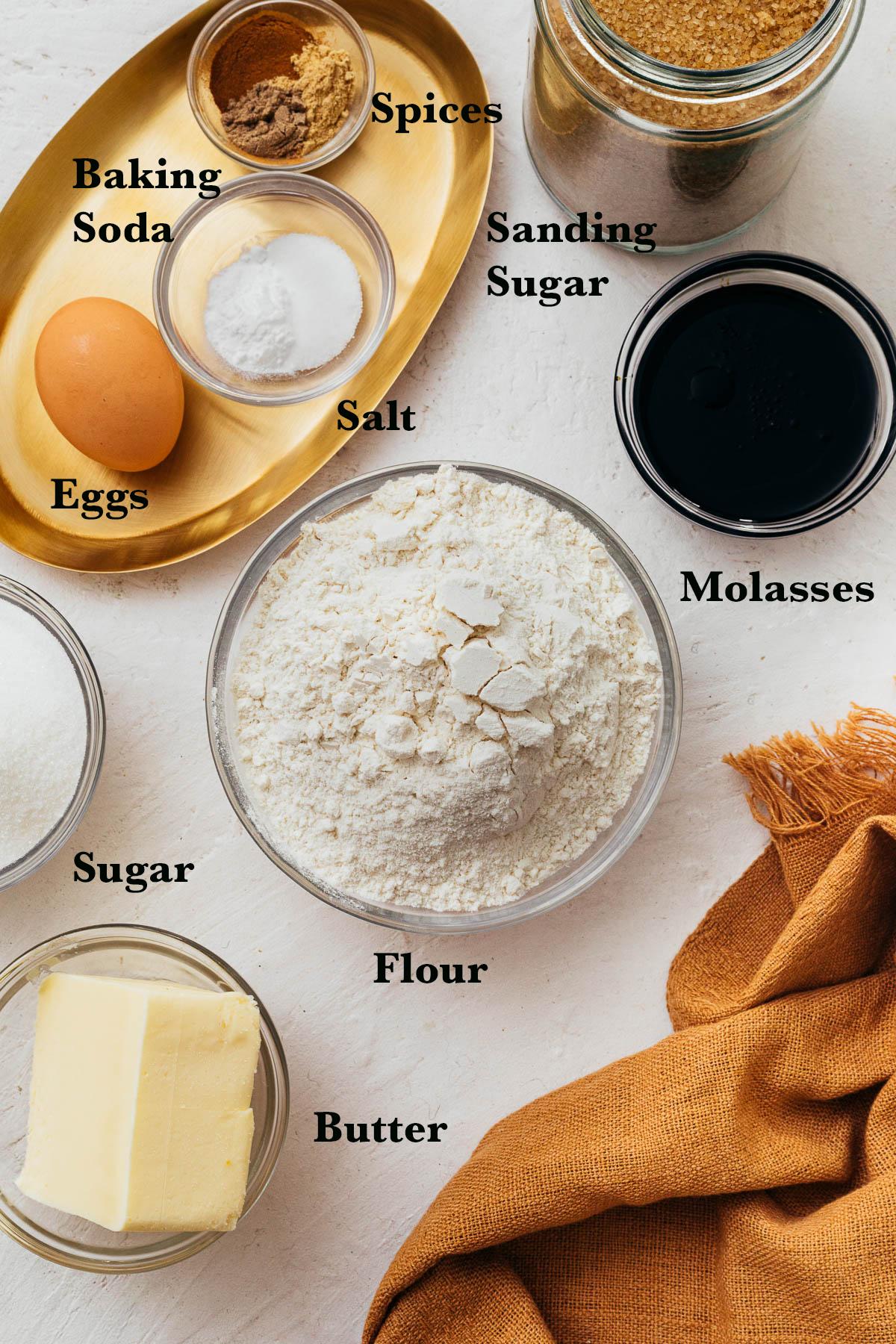 Ingredients to make sugar & spice cookies.
