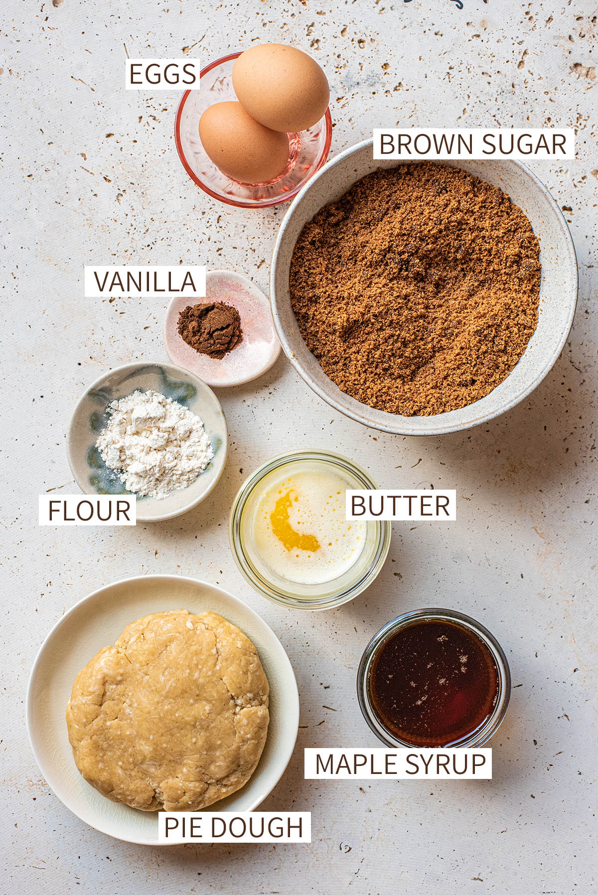 Maple butter tart ingredients.