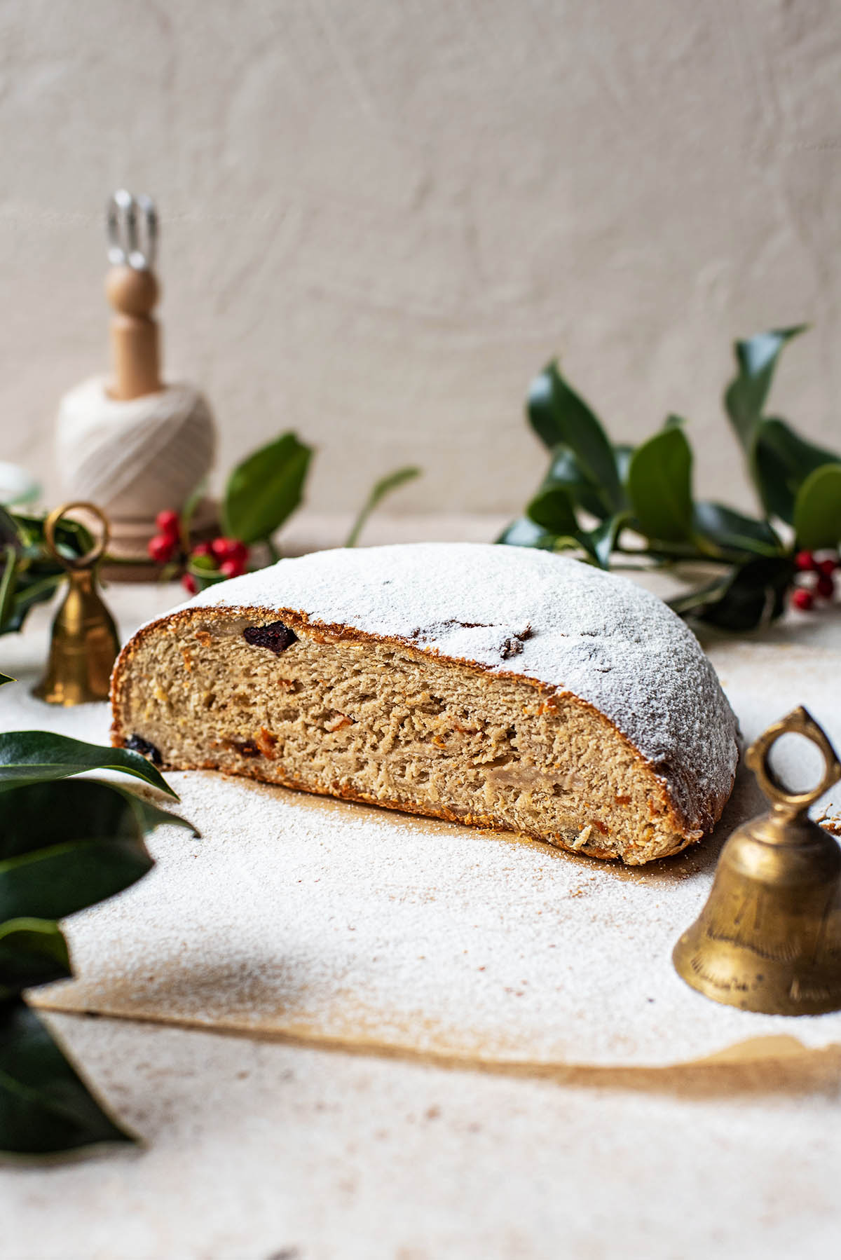 Front view of halved stollen.