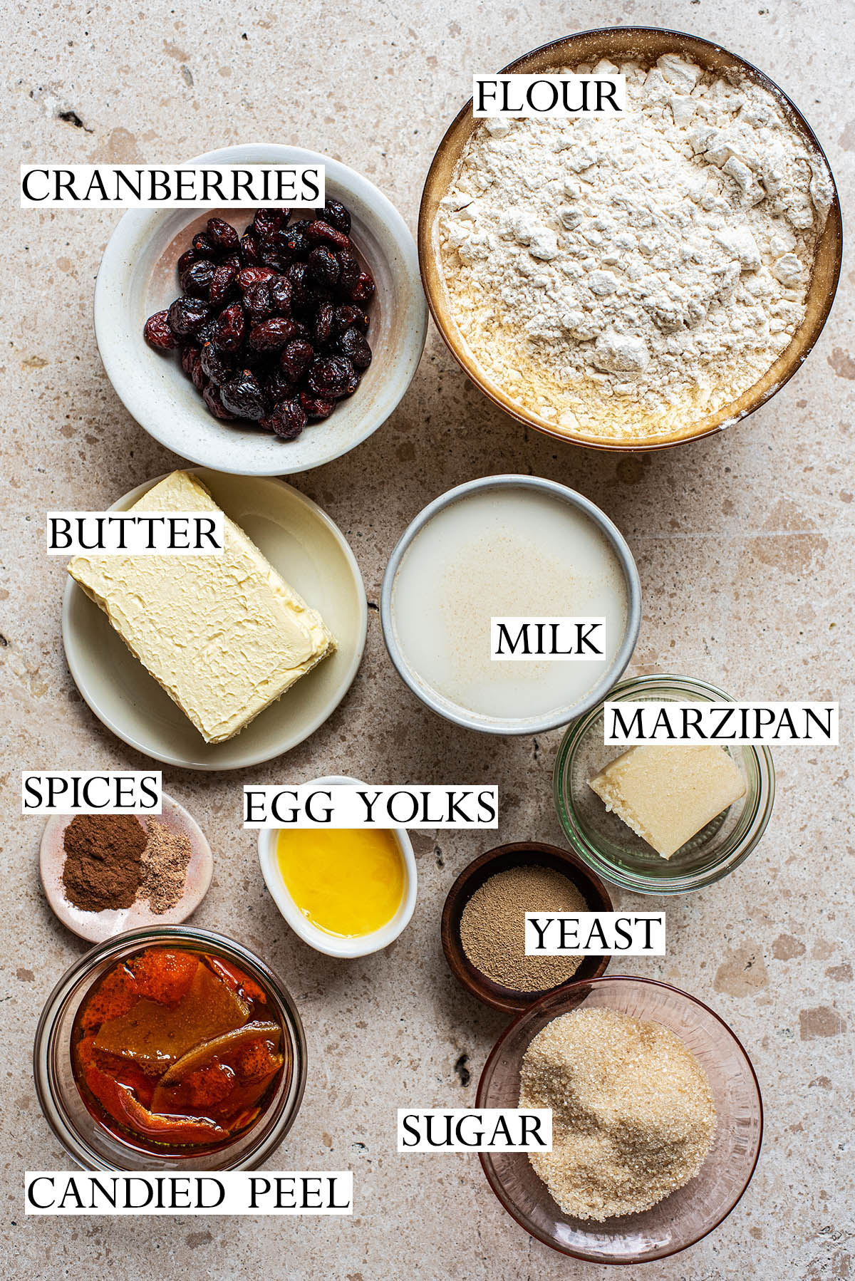 Cranberry marzipan stollen ingredients.
