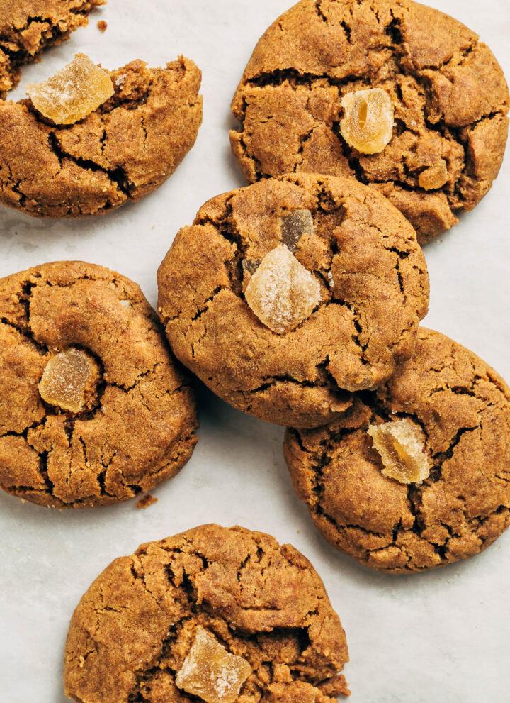 Vegan ginger cookies on baking paper.