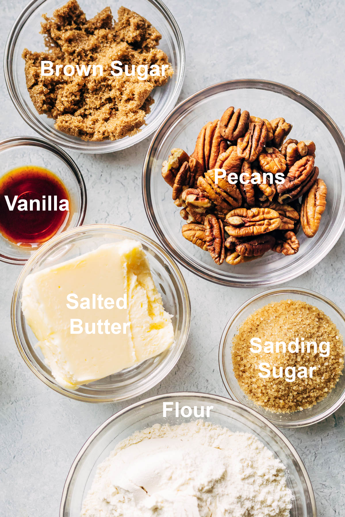 Ingredients to make pecan shortbread cookies.