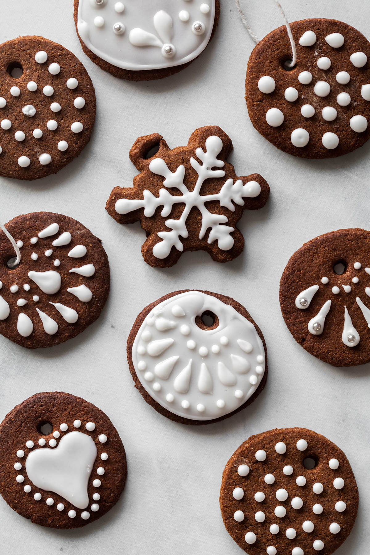 Decorated vegan gingerbread cookies.