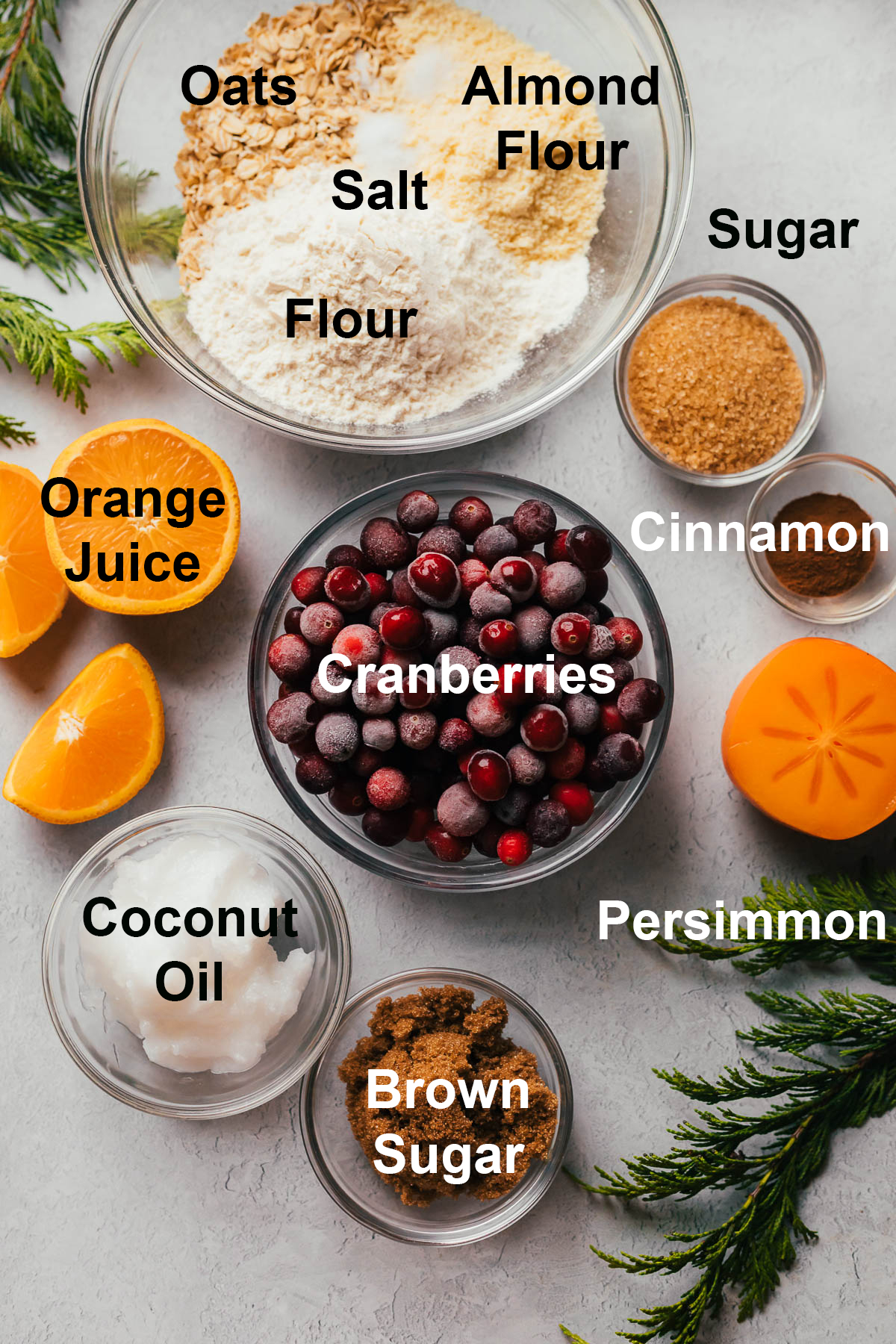 Cranberry persimmon crisp ingredients.