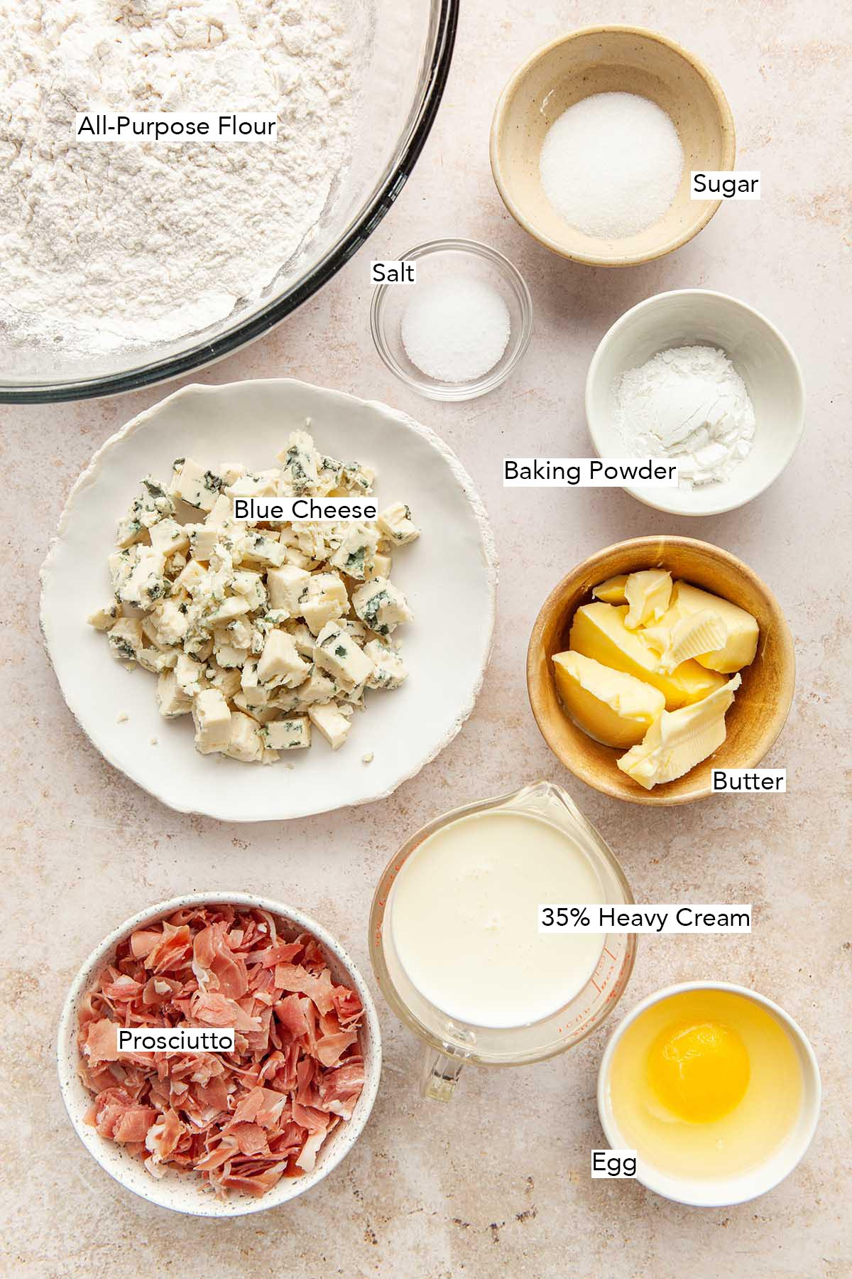 Ingredients to make blue cheese scones with prosciutto.