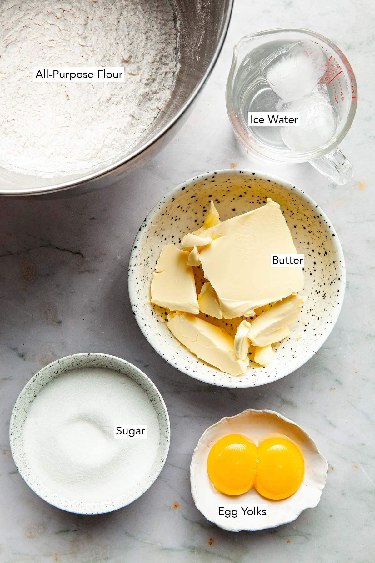 Pâte Sucrée ingredients.