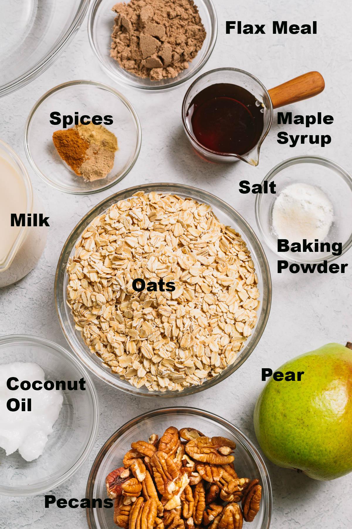 Vegan baked oatmeal ingredients.