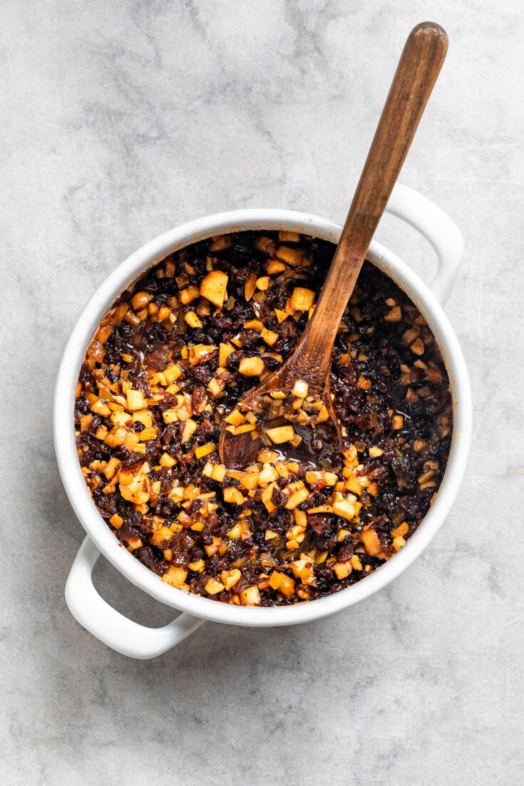 Mincemeat in a deep bowl.