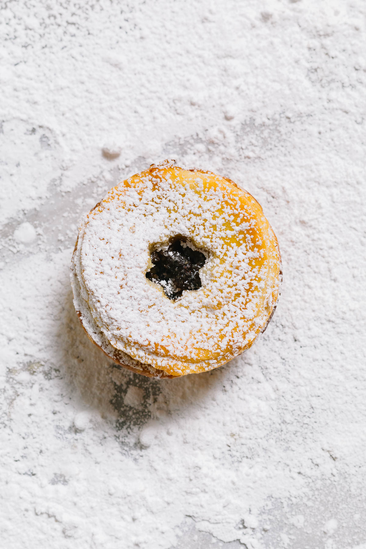 One tart with powdered sugar sprinkled on it.