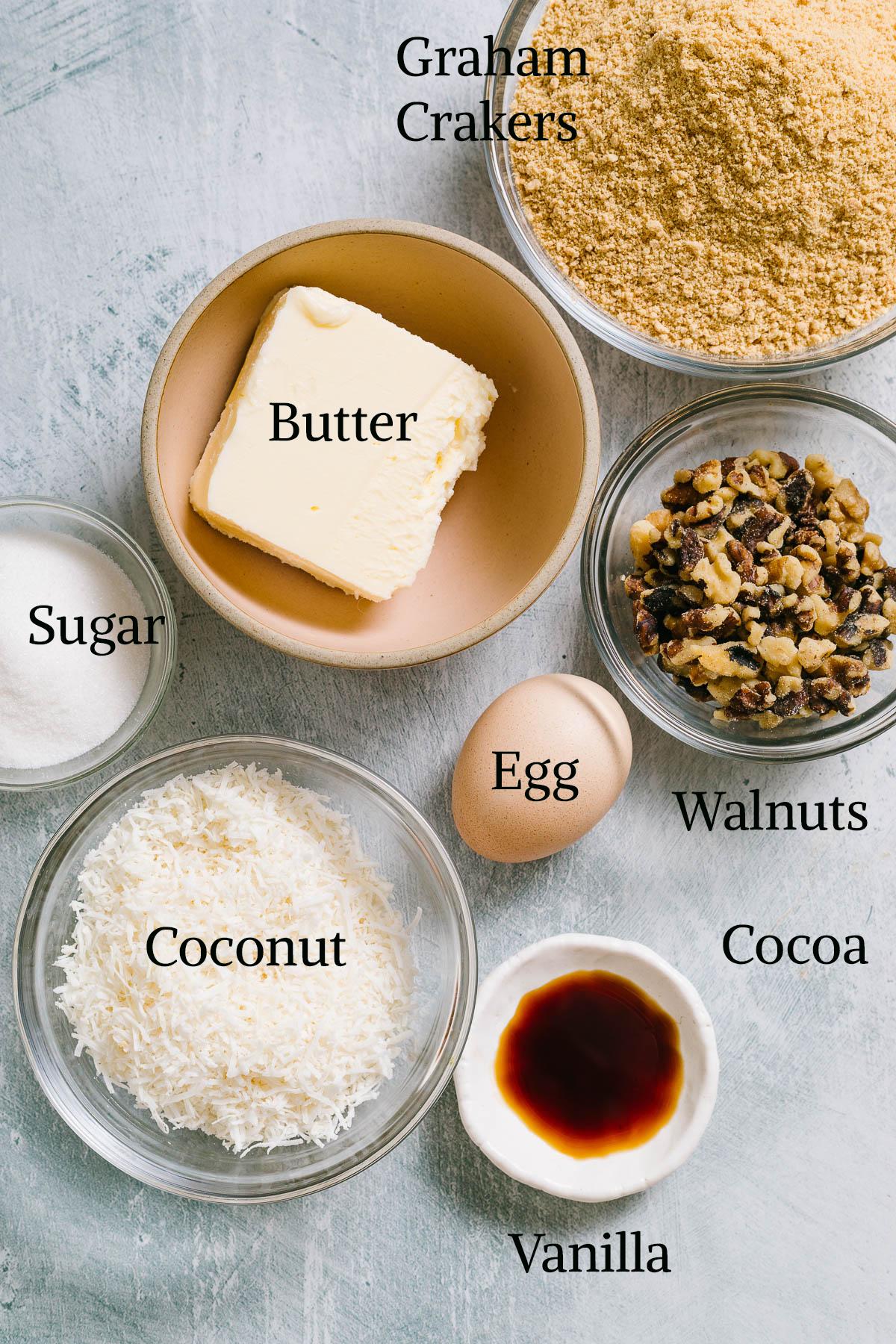 Nanaimo bar base ingredients.