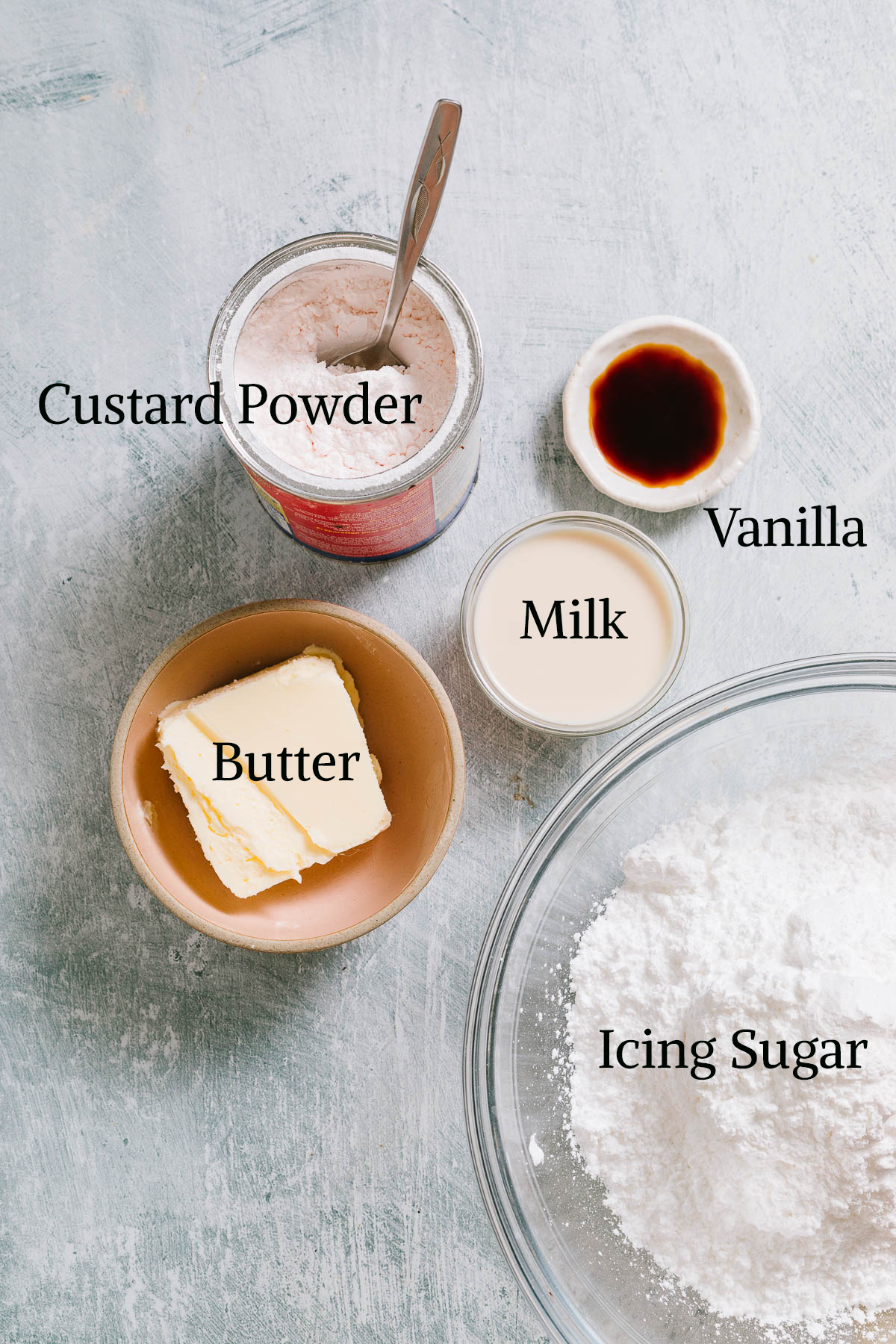 Custard filling ingredients.