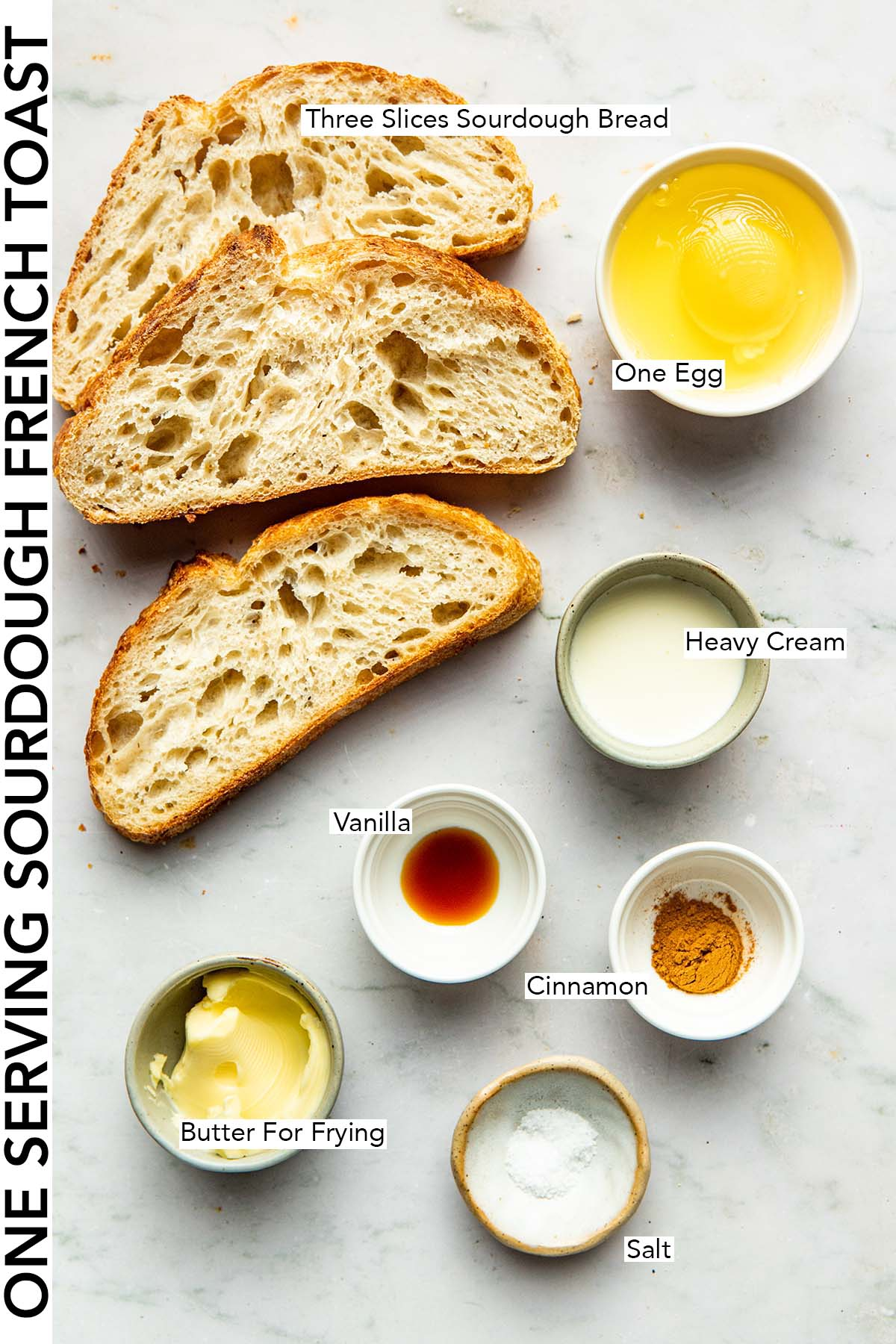 Ingredients to make one serving of sourdough French toast.