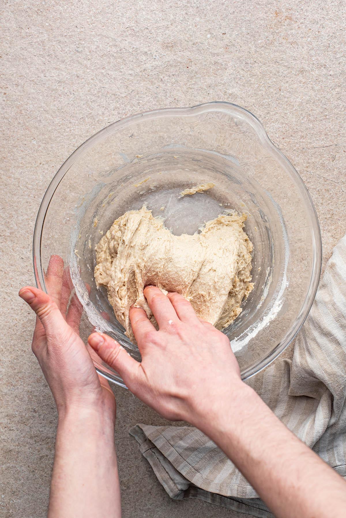 Folding the dough.