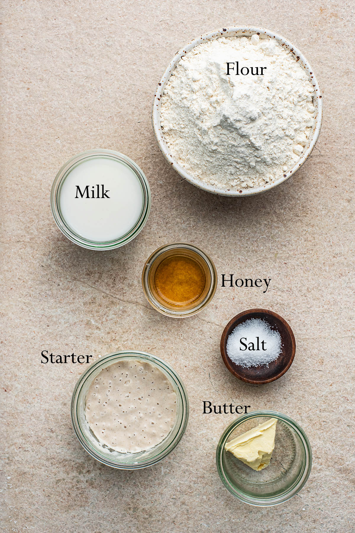 Sourdough English Muffin Ingredients.