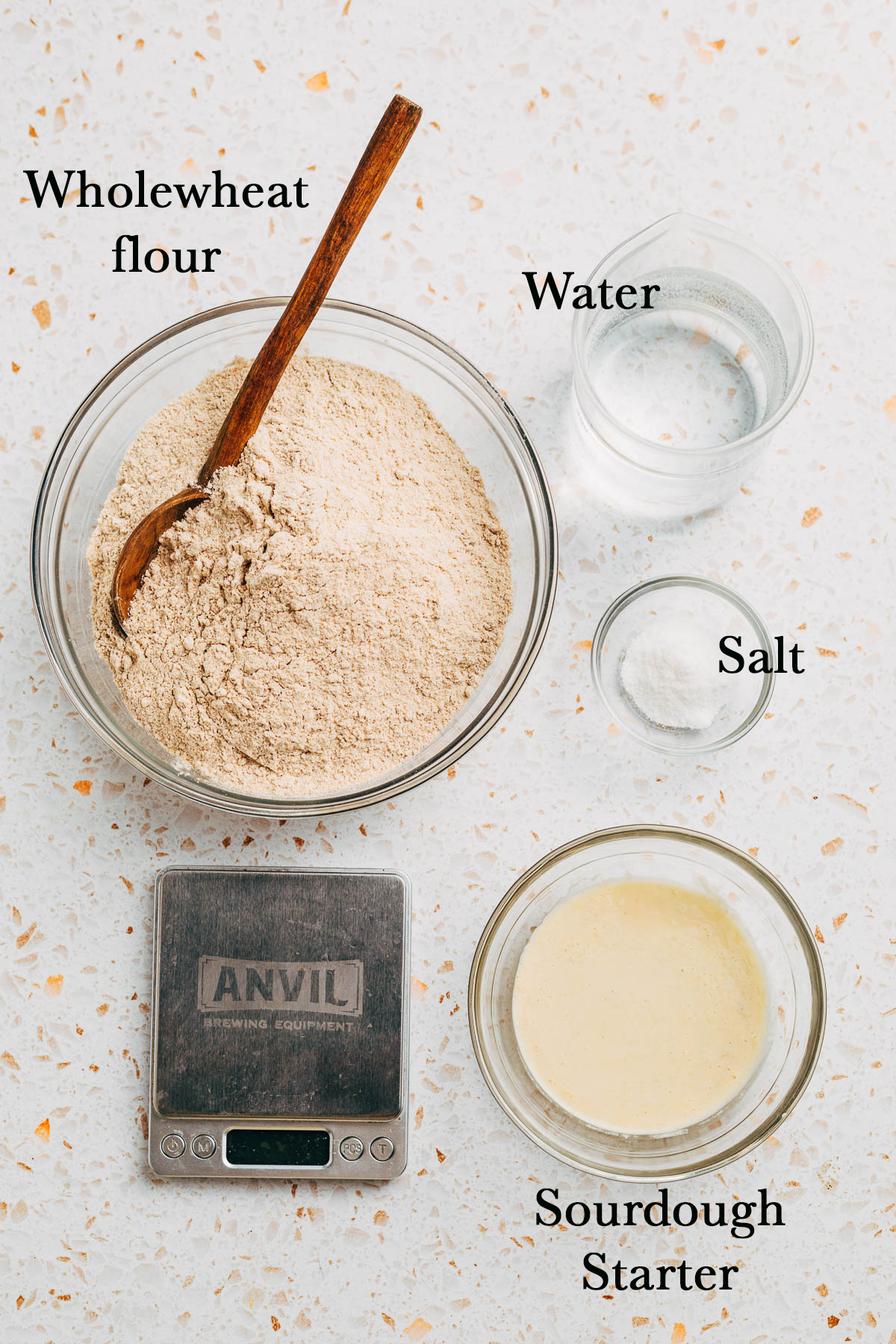 Whole wheat sourdough bread ingredients.