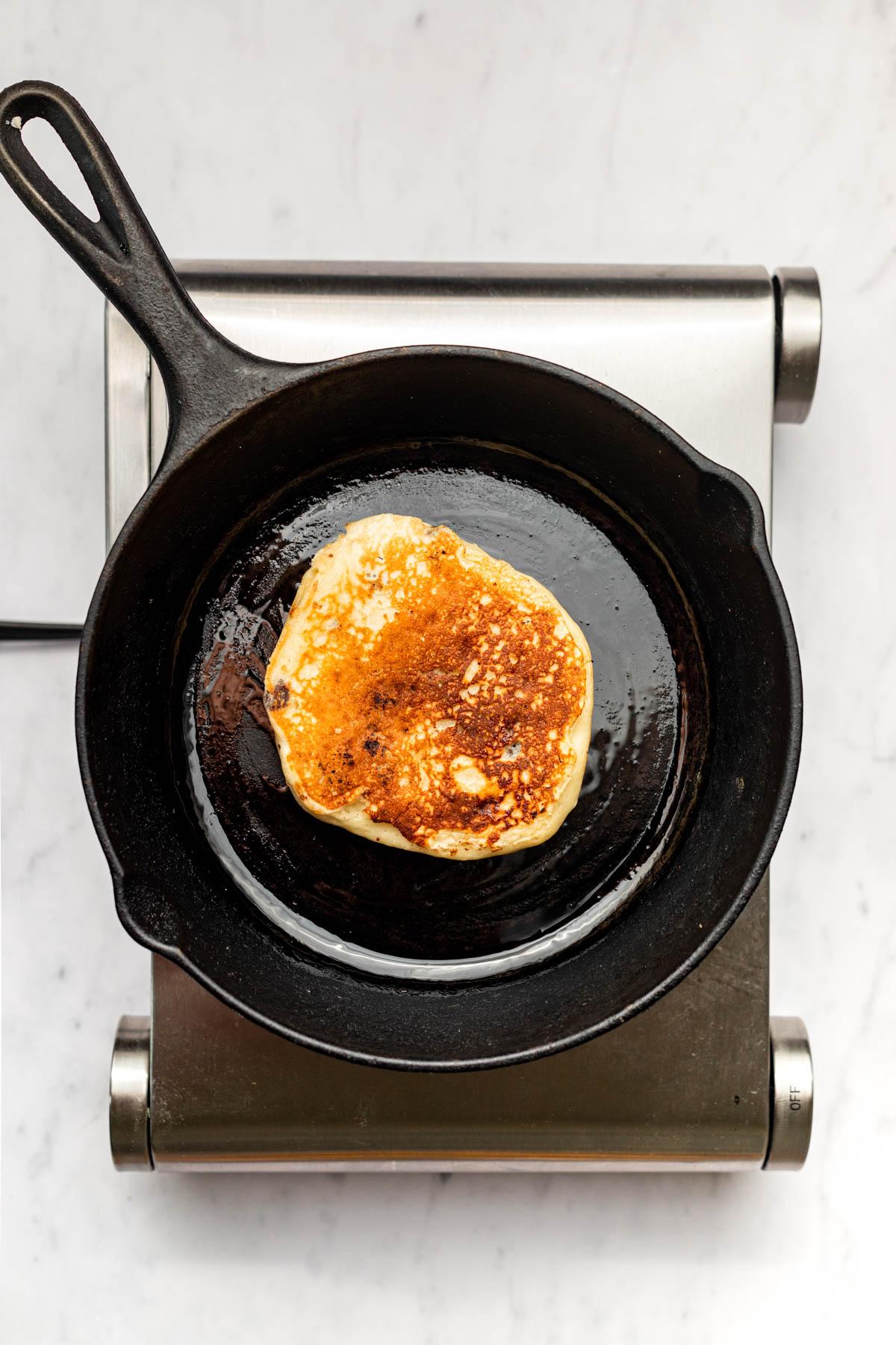 Pancake after flipping.