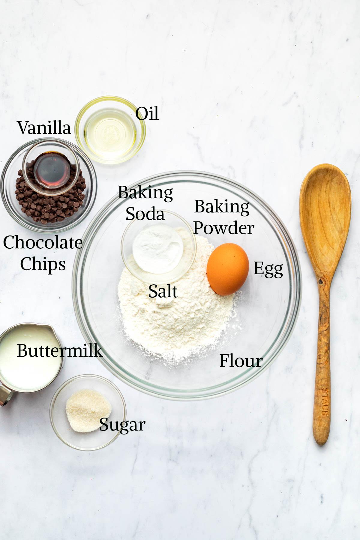 Chocolate chip pancake ingredients.