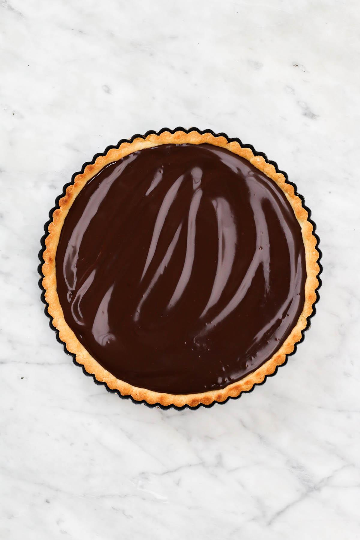 A chocolate ganache tart.
