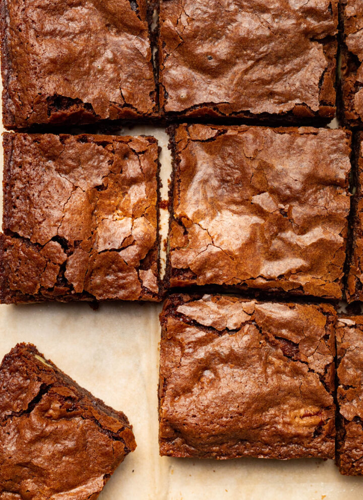 Sliced dairy-free brownies.