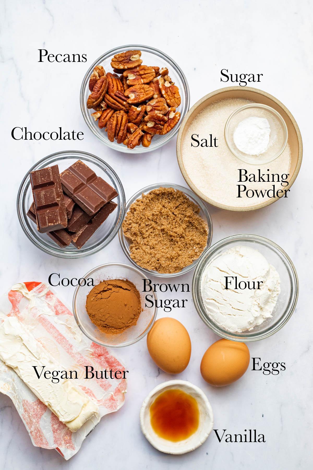 Ingredients to make dairy-free brownies.