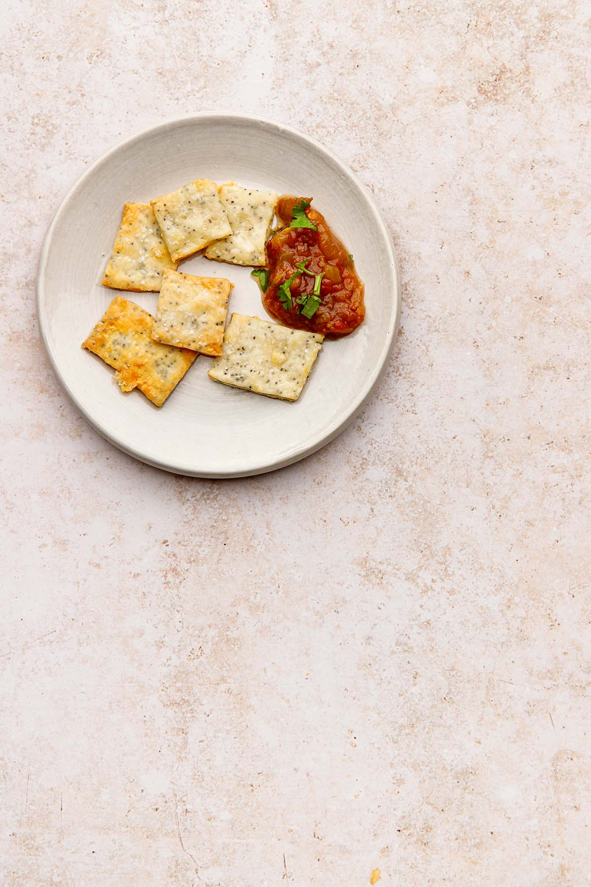 A plate of white cheddar crackers with a dollop of salsa on the side.