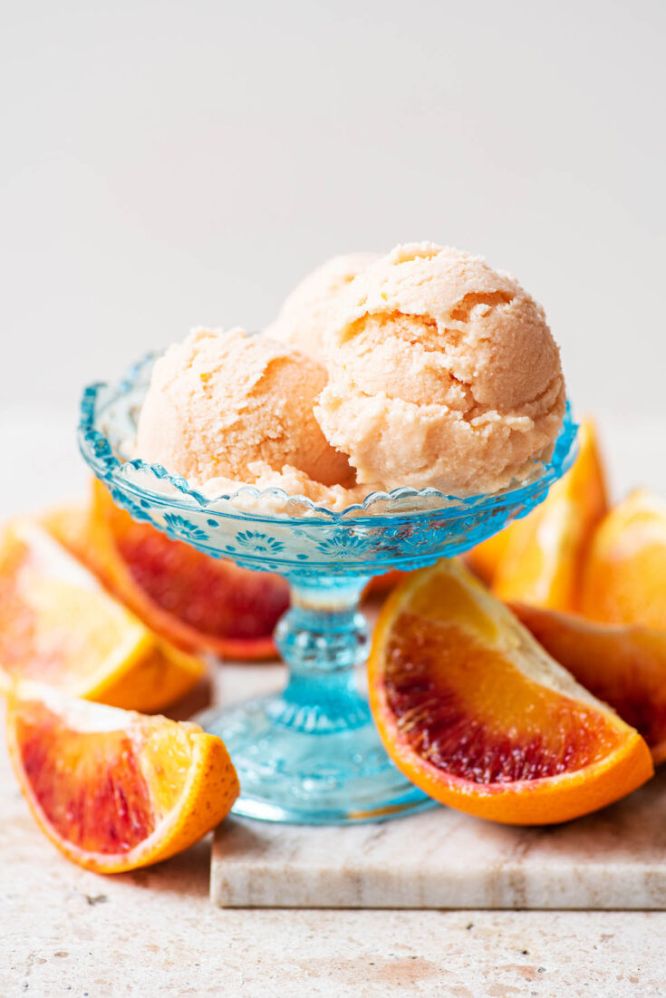 Three scoops of sherbet in a coupe glass with orange slices around.