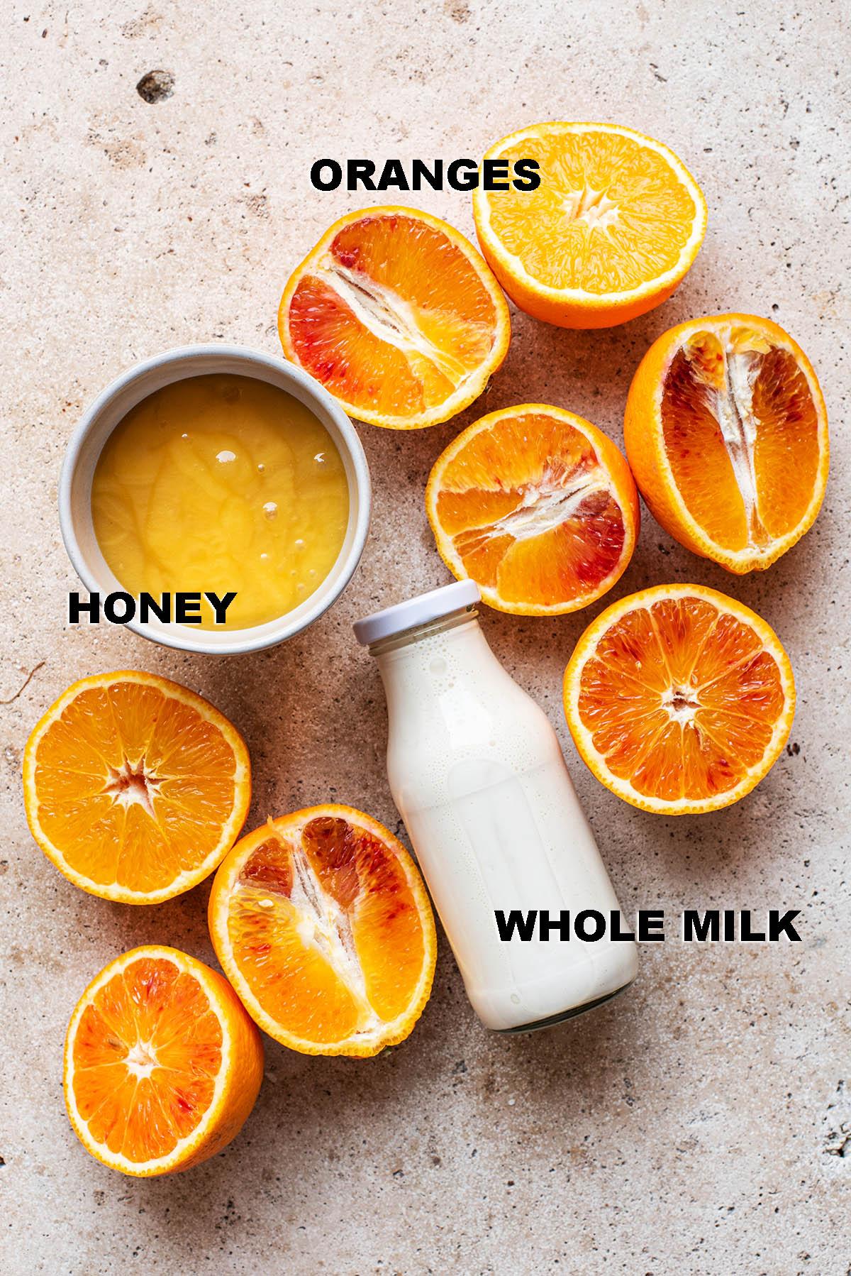 Orange sherbet ingredients.