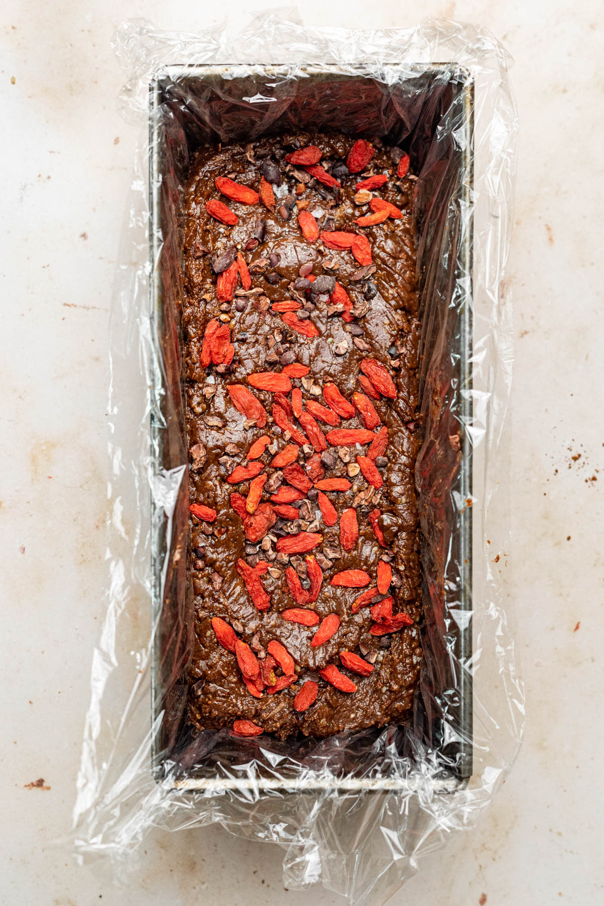 Goji berries pressed into the top of the fudge.