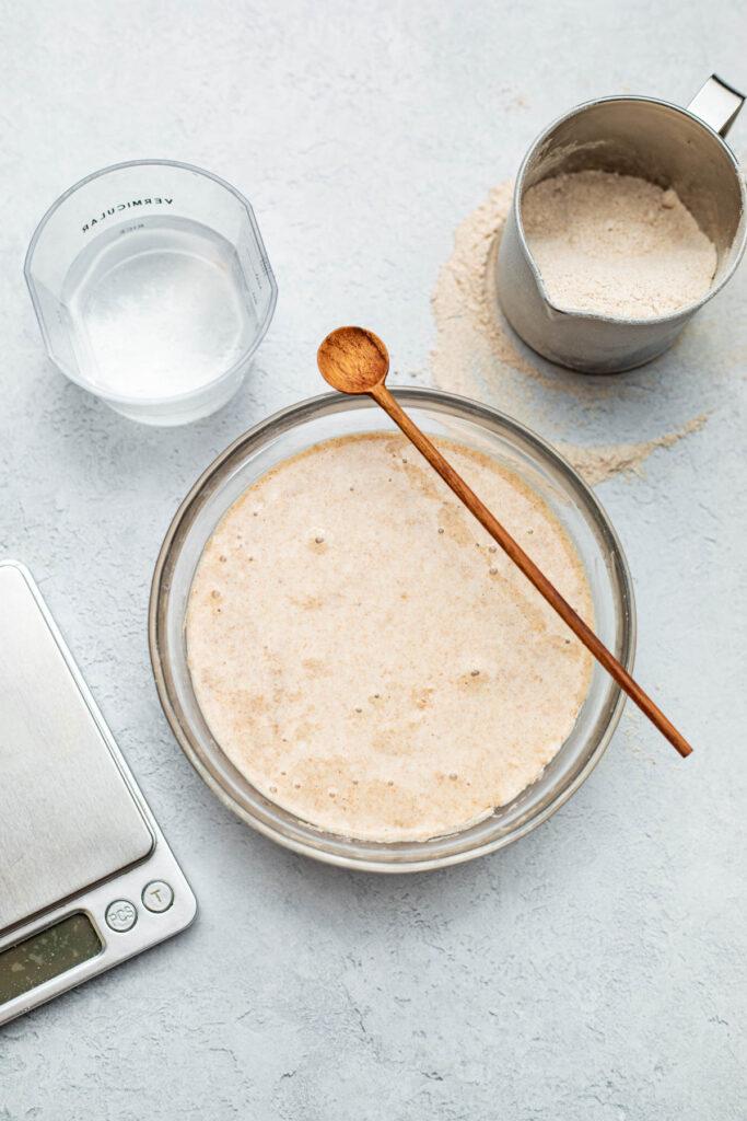 A bowl of active sourdough levain.