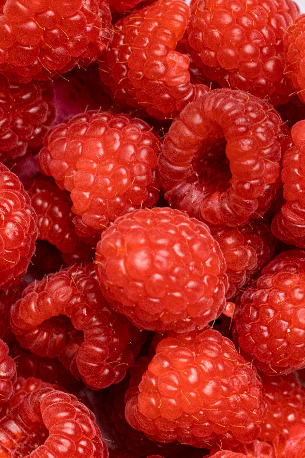 Close up overhead image of fresh raspberries.