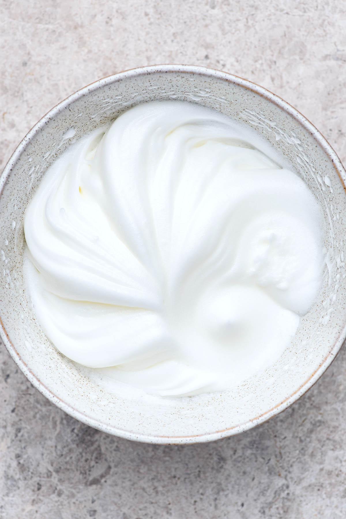 Egg whites beaten to stiff peaks.