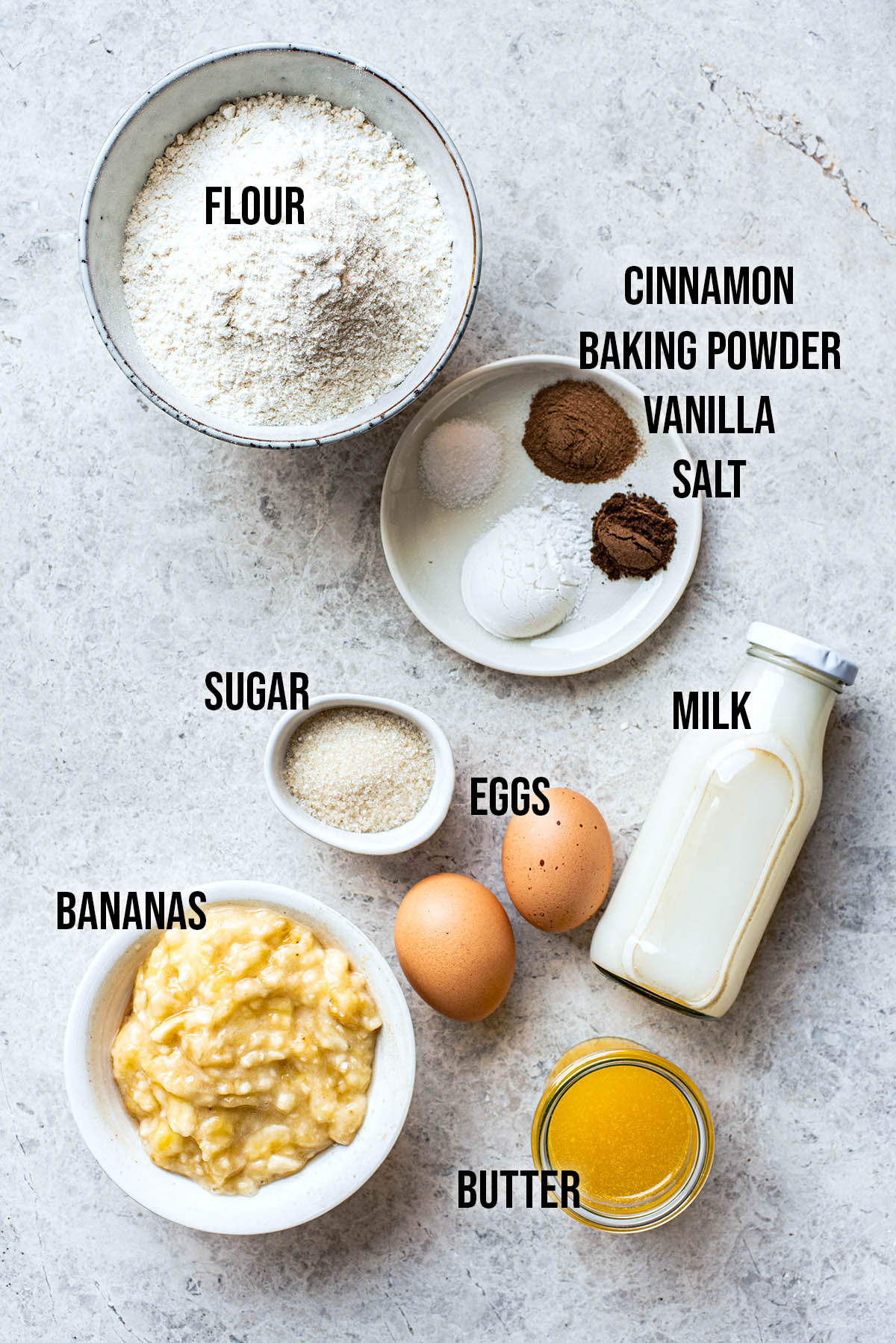 Banana waffles ingredients.