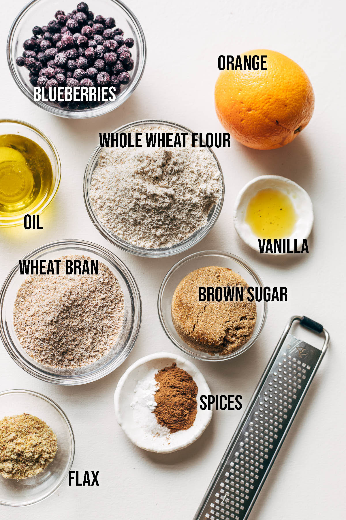 Vegan bran muffin ingredients.