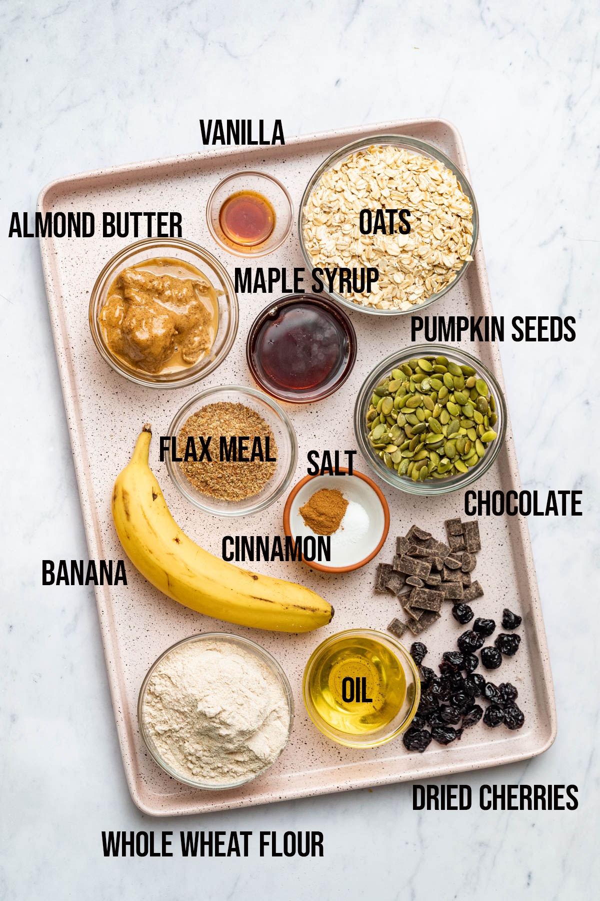Ingredients to make banana breakfast cookies.