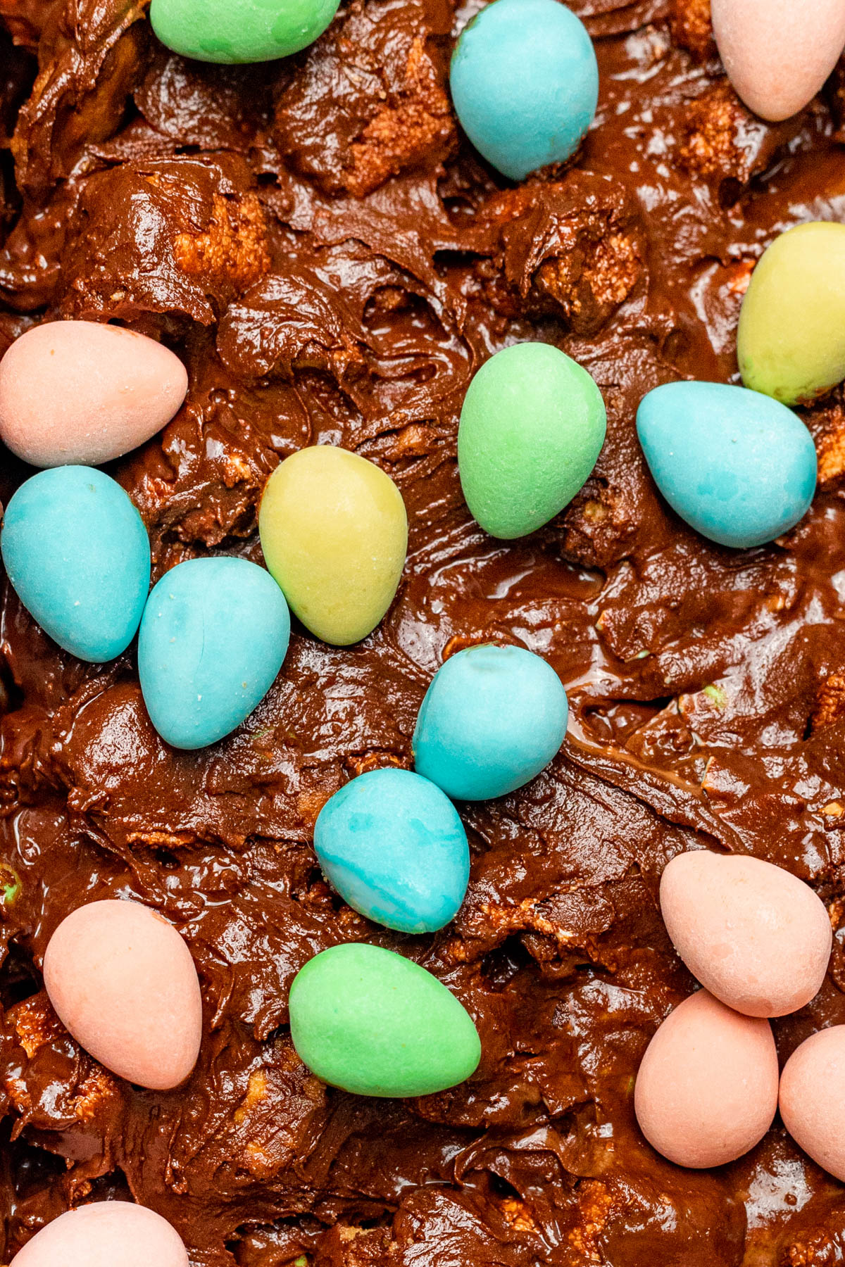 Close up of mini egg topped candy.
