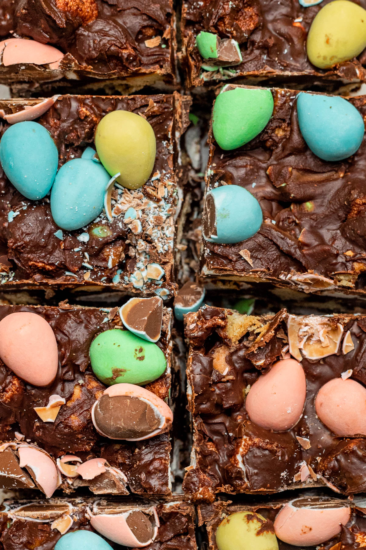 Close up of mini egg topped rocky road.