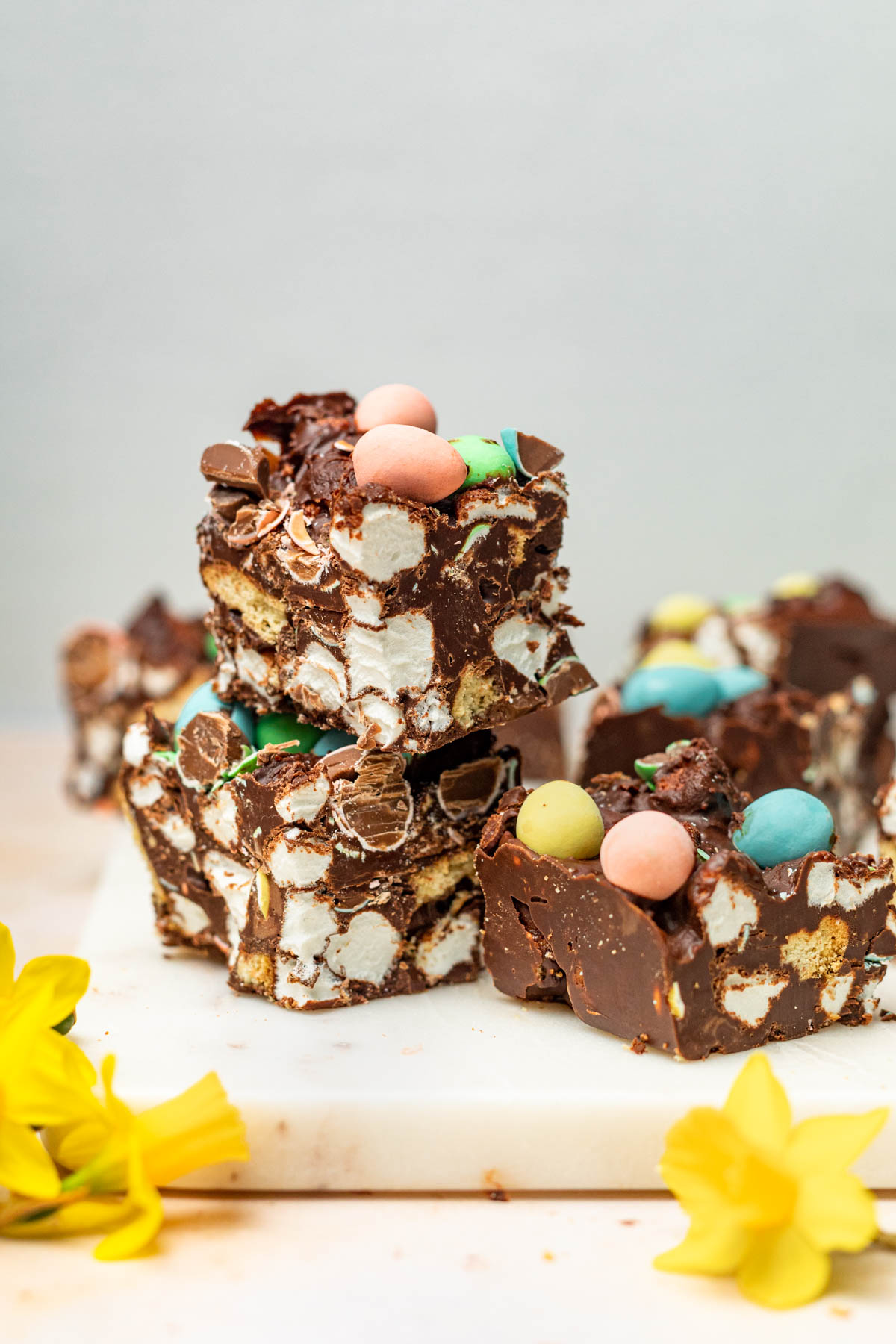 Small squares of candy with daffodils.