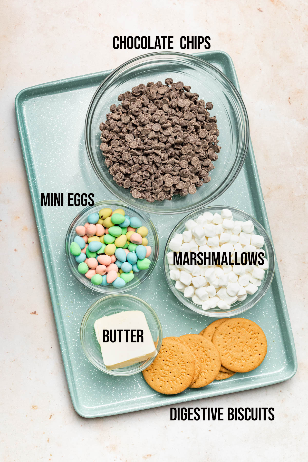 Easter rocky road ingredients.