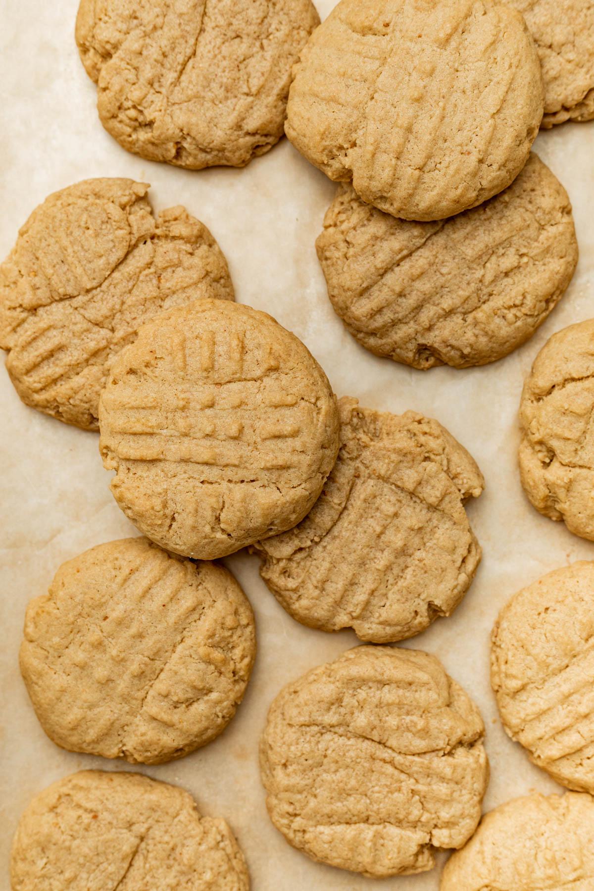 Peanut butter cookies on a baking sheet.