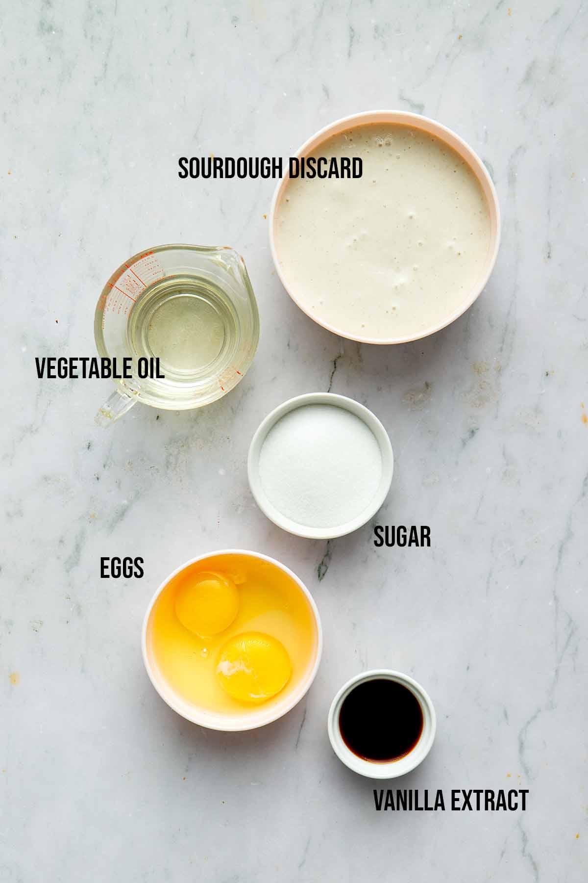 Sourdough muffin wet ingredients.
