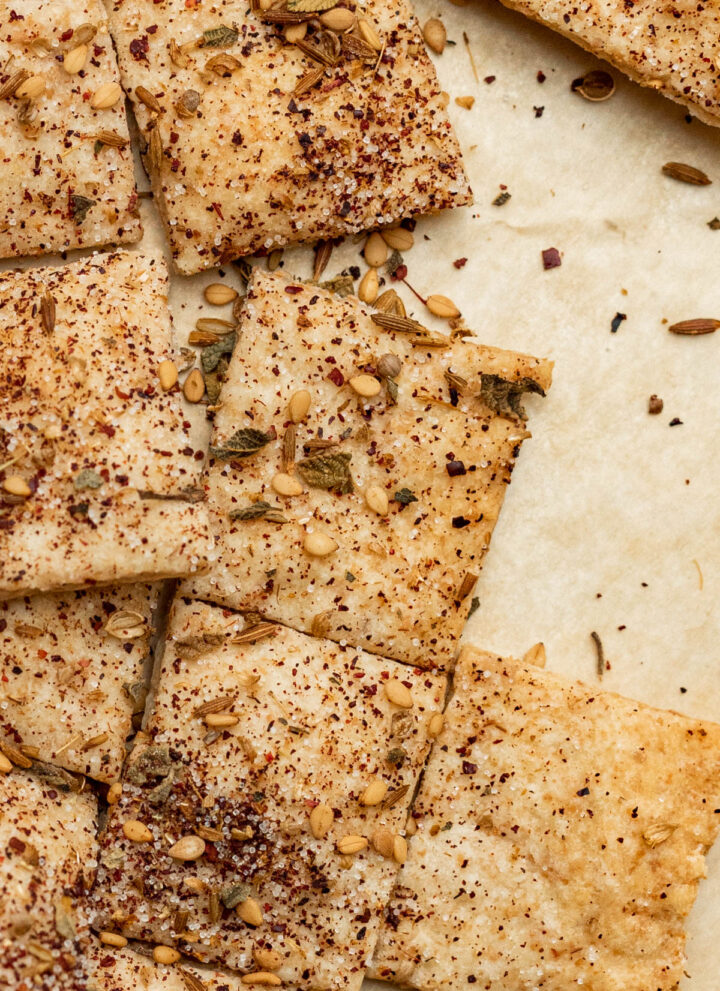 Finished crackers topped with za'atar.