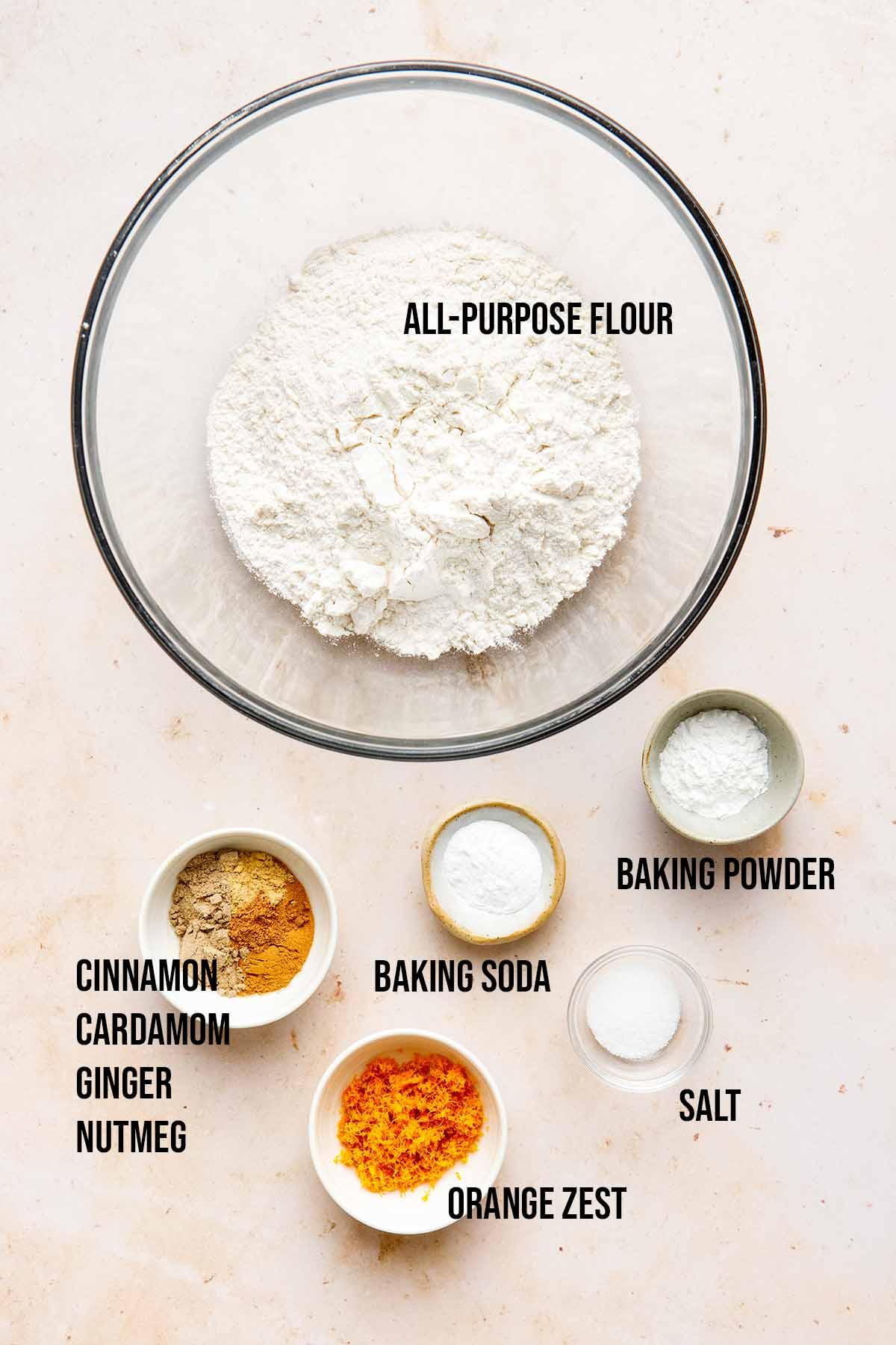 Vegan carrot cake dry ingredients.