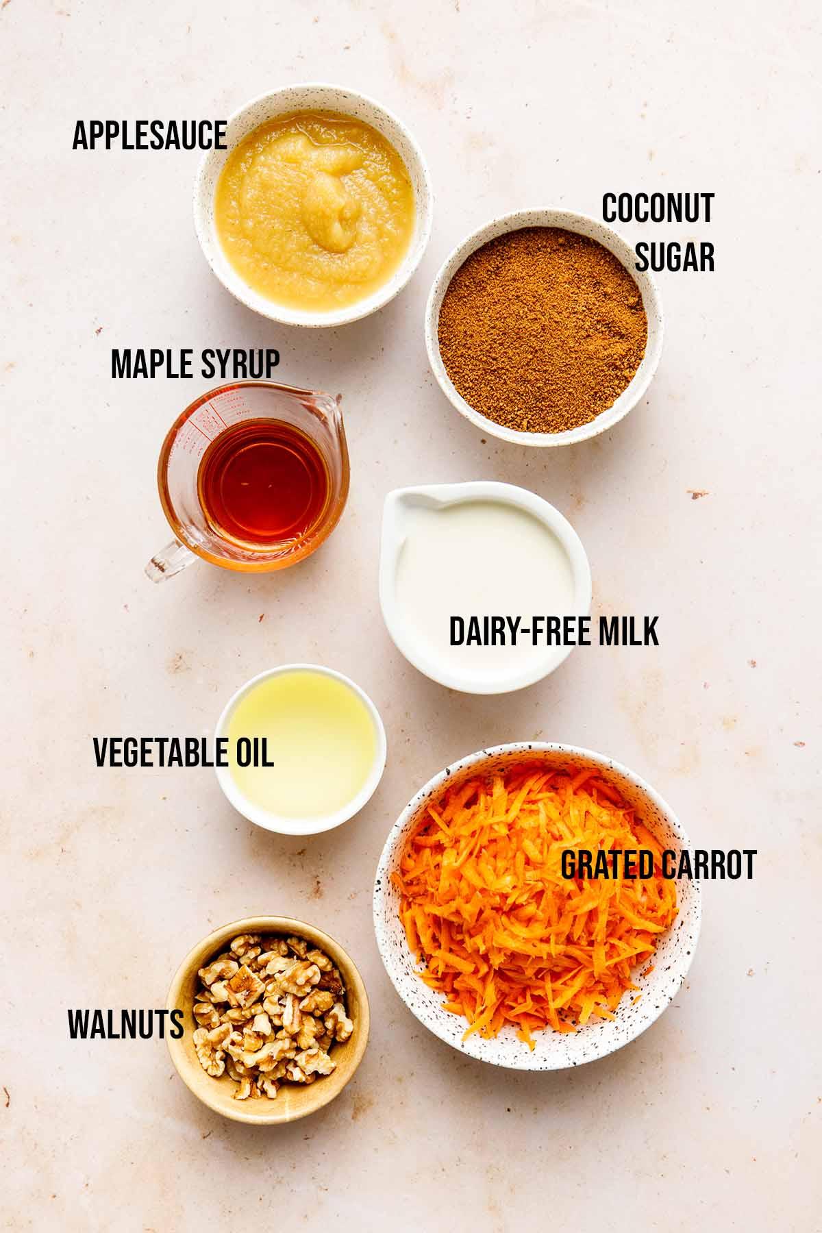 Vegan carrot cake wet ingredients.