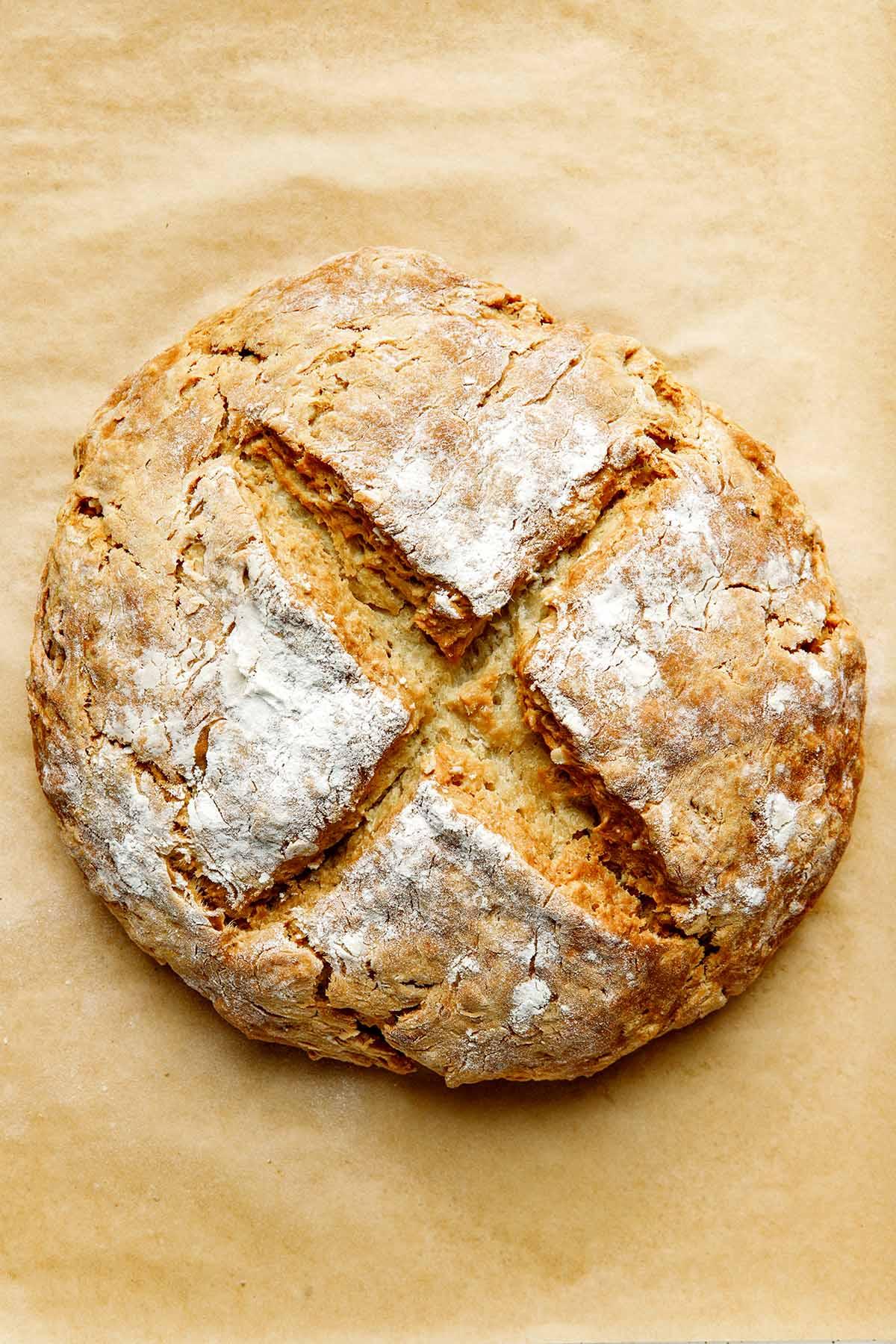 Baked vegan soda bread.