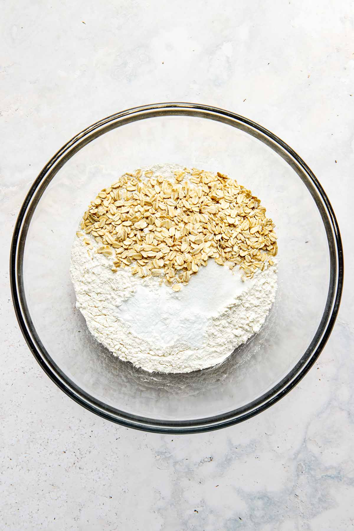 Dry ingredients in a mixing bowl.