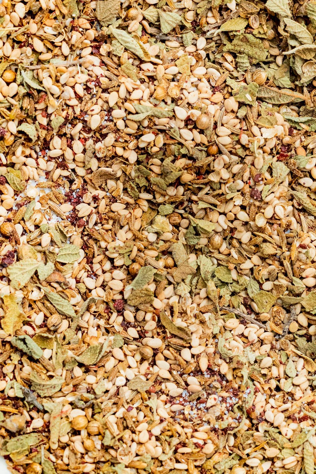 Close up of mixed za'atar spice.