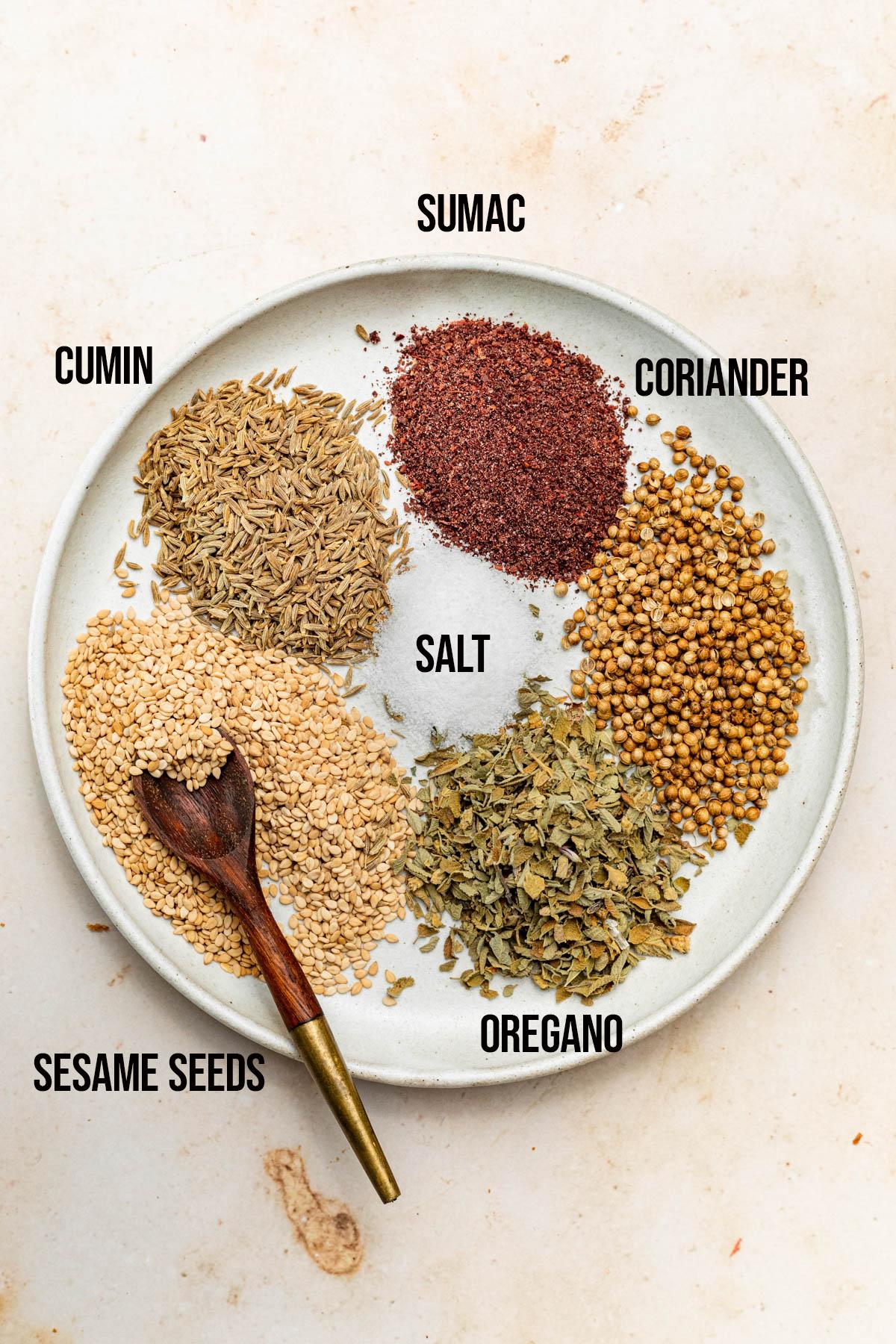 Za'atar ingredients.