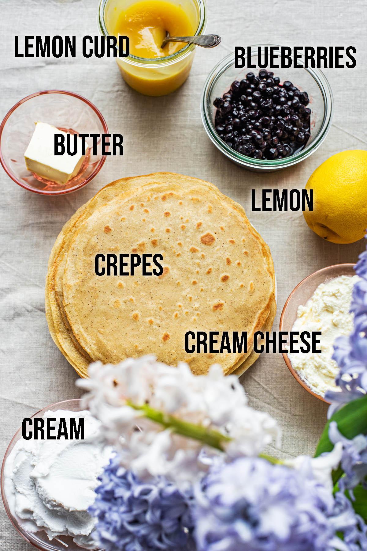 Crepe cake ingredients.